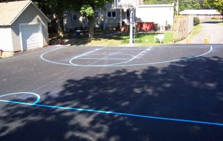 fresh painted lines on basketball court