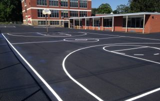 basket ball court on asphalt